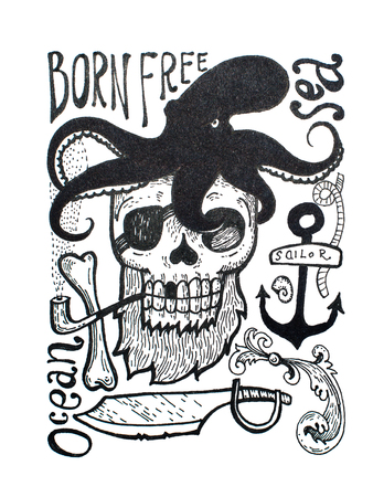 Black-and-white drawing of pirates attributes composition: skull, beard, eye patch, octopus, anchor, pipe, axe and inscriptions