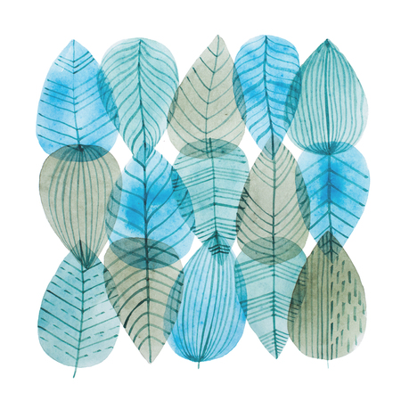 Aquarelle illustration of overlapping leaves drawn with cool color combination.