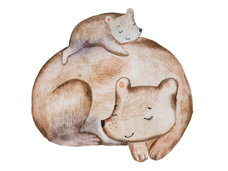 Cute cartoon brown bear and little cub laying on its back sleeping together drawn with watercolor technique. Imagens - 82660999