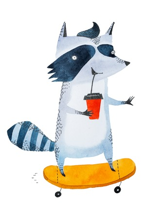 Stylish teenage raccoon drinking coffee to go from takeaway cup while riding on a skateboard. Watercolor sketch of cartoon character.