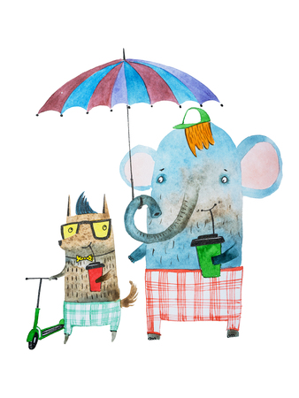 cartoon umbrella: Two funny animal friends drawn with watercolour technique. Cartoon elephant and dog walking under umbrella drinking coffee