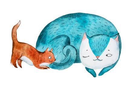 彼女の小さな子猫が遊んでいる間に眠っている漫画の母猫のアクアレルスケッチ