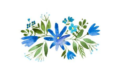 Little bouquet of blue wild flowers. Aquarelle floral illustration. Zdjęcie Seryjne