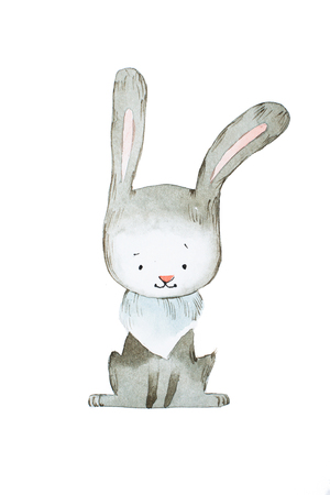 Watercolor rabbit or hare hand drawn with aquarelle technique Stock Photo