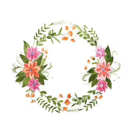 흰색 배경에 고립 된 야생 꽃으로 만든 꽃 화환의 Aquarelle 그림