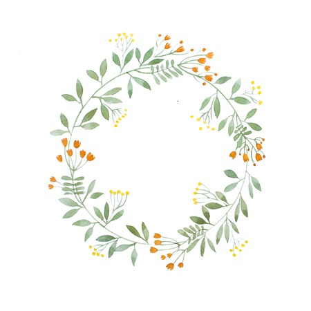 Aquarelle painting of floral wreath made of wild flowers isolated on white background Stock fotó - 83102663