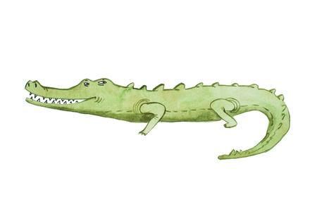 Watercolor illustration of crocodile hand drawn aquarelle Stock Photo