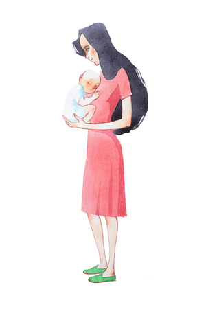 Young mother holding her sleeping newborn baby hand drawn with watercolor Stock fotó