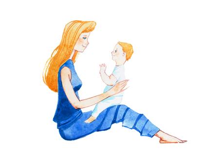 Voir le profil de souriant jeune mère assise sur le sol avec un fils sur les genoux dessinés à la main avec aquarelle Banque d'images - 83102675
