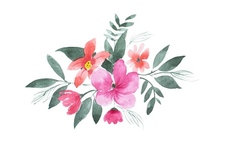 Watercolor drawing of floral composition made of pink and red flowers and leaves