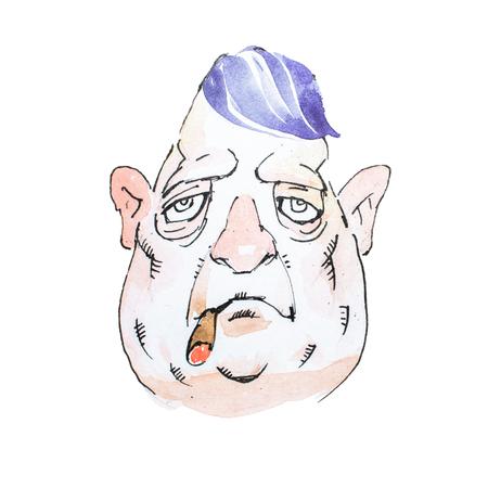 水彩漫画文字中年悲観的なマフィアやギャング喫煙葉巻重い表情での肖像画