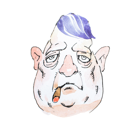 Portrait of watercolor cartoon character middle-aged gloomy Mafioso or gangster smoking cigar with heavy look
