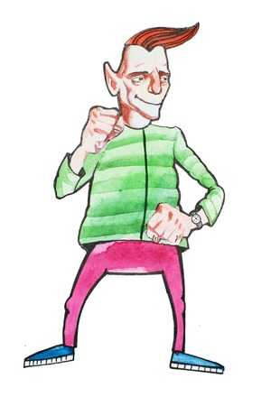 Caricature portrait of cool middle-aged man in bright clothing standing smiling bunching fists. Cartoon male character drawn with watercolors