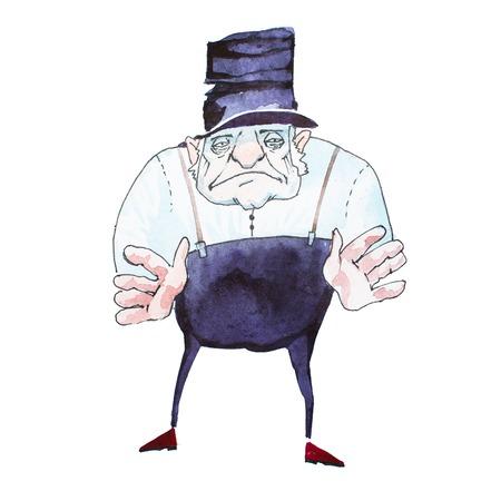 검은 탑 모자, 흰 셔츠와 그의 손에 도달 멜빵과 바지를 입고 불길한 노인의 초상화