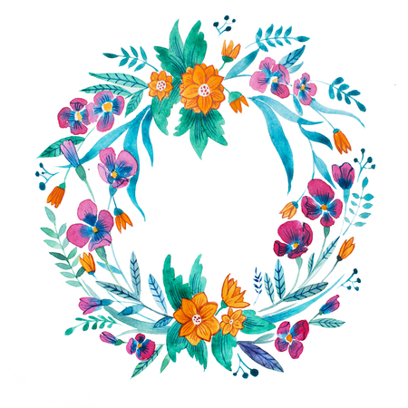 Colorful chaplet of purple wild pansy and orange daisy with leaves hand drawn with watercolors.
