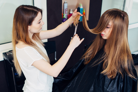 Young beautician trimming or cutting split damaged ends of client s long hair in beauty parlor Stock Photo