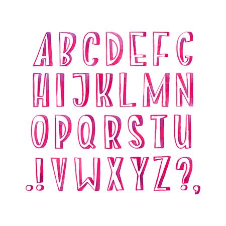 Bunte Aquarell Aquarell Schriftart handschriftliche Handzeichnung Hand abc Buchstaben Standard-Bild - 83176383