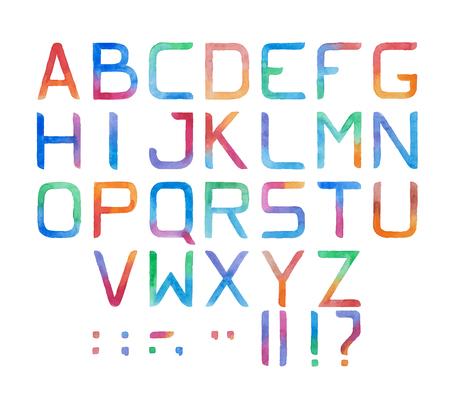 Colorful watercolor aquarelle font type handwritten hand draw abc alphabet letters Çizim