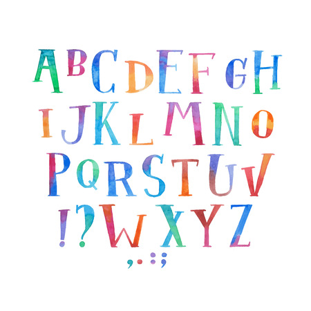 Colorful watercolor aquarelle font type handwritten hand draw abc alphabet letters Illustration