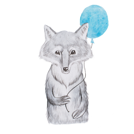 Fluffy cartoon realistic wolf holding a blue balloon