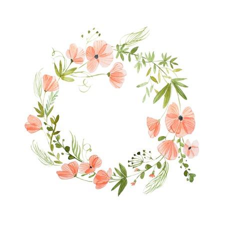 Aquarelle schilderij van bloemenkrans gemaakt van wilde bloemen geïsoleerd op een witte achtergrond Stockfoto - 83531058