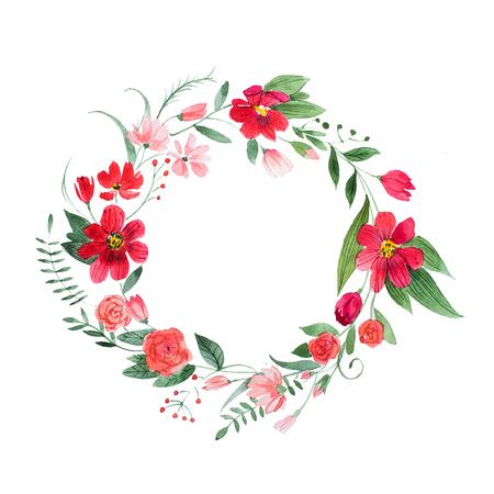 Delicata coroncina floreale fatta di fiori e foglie rosa e rossi disegnati a mano con acquerello Archivio Fotografico - 83531066