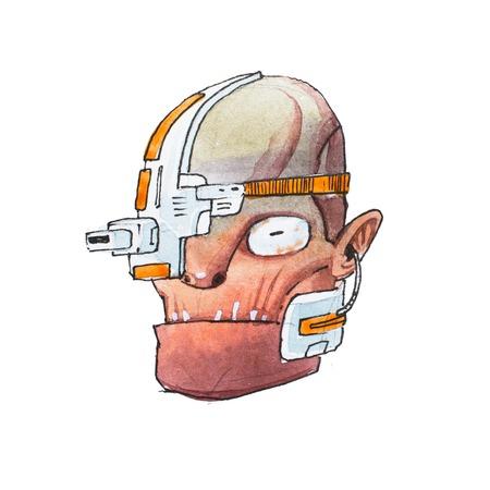 Hand getrokken hoofd van humanoïde robot met gerimpelde huid en metalen elektrische onderdelen