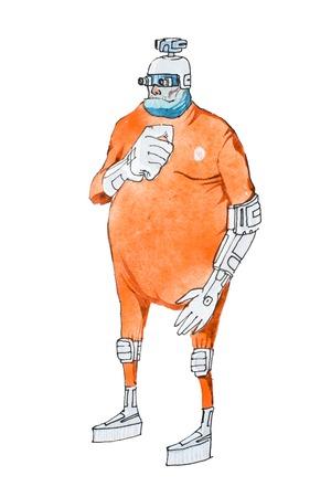 Watercolor illustration of cartoon cyborg or humanoid robot wearing orange prison jumpsuit uniform