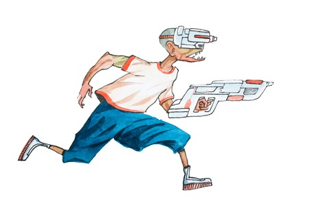 Cartoon man in casual clothes with futuristic glasses and weapon running chasing someone