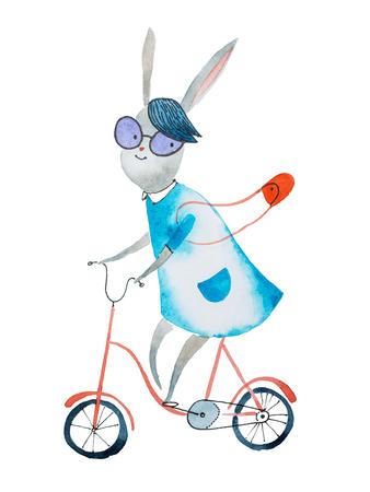 バニーガール ドレスと紙に描かれた自転車に乗ってハンドバッグを着ての水彩イラスト
