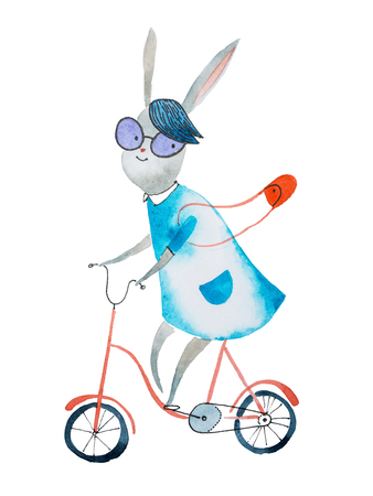 Watercolor illustration of bunny girl wearing dress and a handbag riding a bike drawn on paper Фото со стока