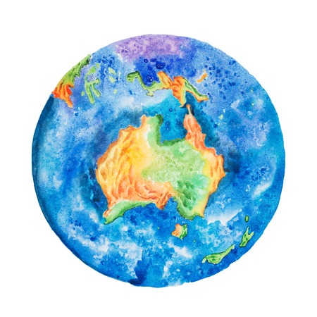 Globe. Watercolor illustration of planet Earth with Australia in the center