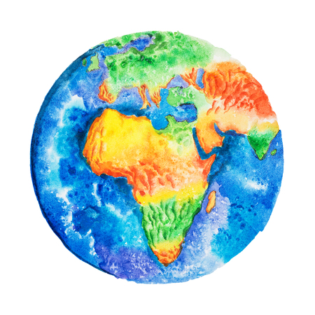Globe. Aquarelle drawing of Africa relief map. View to Earth from space. 版權商用圖片