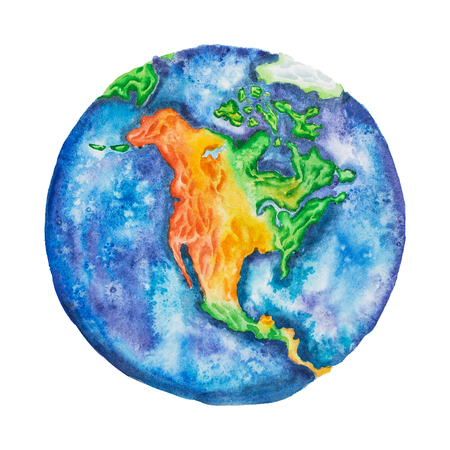Globe. North America on planet Earth hand-drawn with watercolor technique isolated on white background