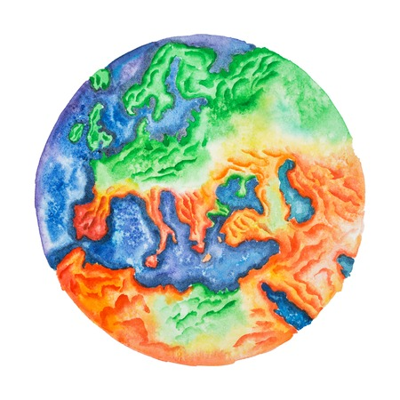Hand-drawn watercolor illustration of topographic map of Europe. View to Earth from space