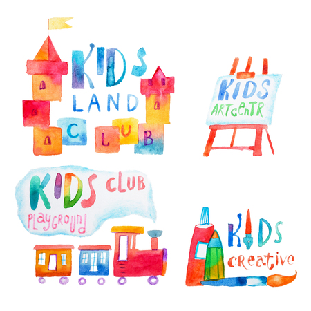Set of watercolor promo signs with letterings for kids club
