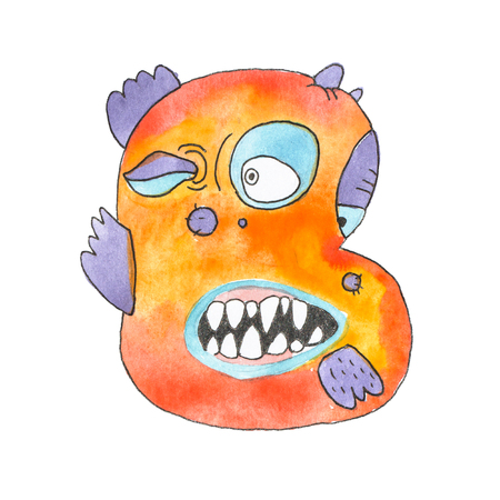 Funny watercolor cartoon English alphabet with monsters