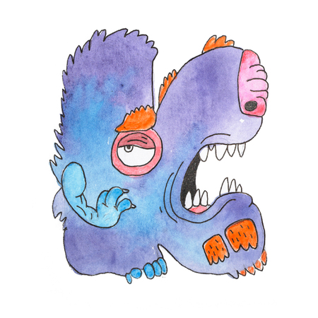 Funny watercolor cartoon English alphabet with monsters Фото со стока - 84350337
