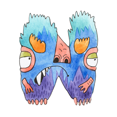 Funny alfabeto inglés de dibujos animados de acuarela con monstruos Foto de archivo - 84350335
