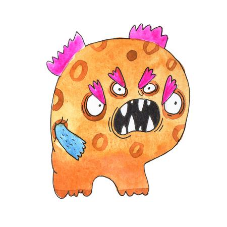 Funny alfabeto inglés de dibujos animados de acuarela con monstruos Foto de archivo - 84350342