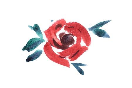 watercolor drawing of fresh garden flowers, summer meadow bouquet aquarelle painting Stok Fotoğraf