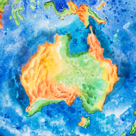 Map. Watercolor illustration of Australia in the center