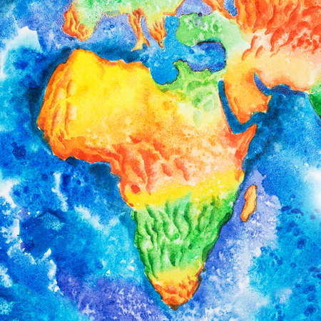 Map. Aquarelle drawing of Africa relief map. View to Earth from space.