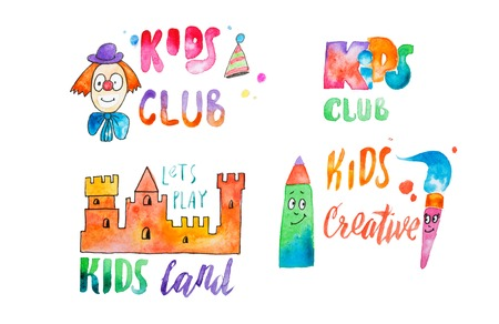 Set of watercolor colorful emblems with calligraphic letterings for kids club Stock Photo