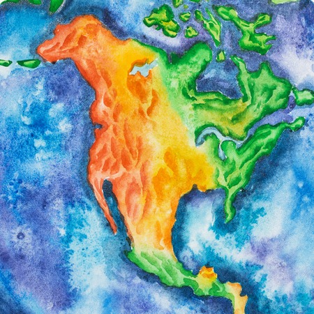 Map. North America hand-drawn with watercolor technique