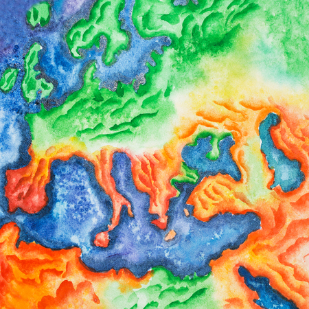 Hand-drawn watercolor illustration of topographic map of Europe. View to Earth from space 版權商用圖片 - 86555365