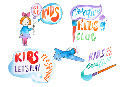 Hand-drawn watercolor logo set for kids club. Collection of promotional symbols for playground and entertaining center for children Фото со стока