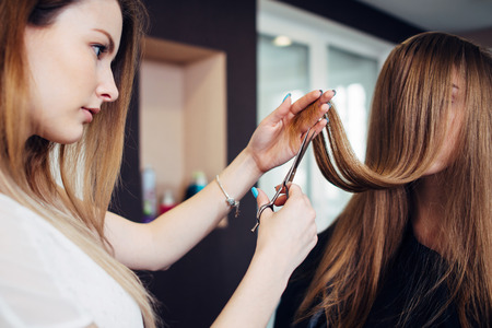 Hairdresser trimming the split ends of female customer sitting with long hair covering her face in beauty salon Zdjęcie Seryjne - 86555392