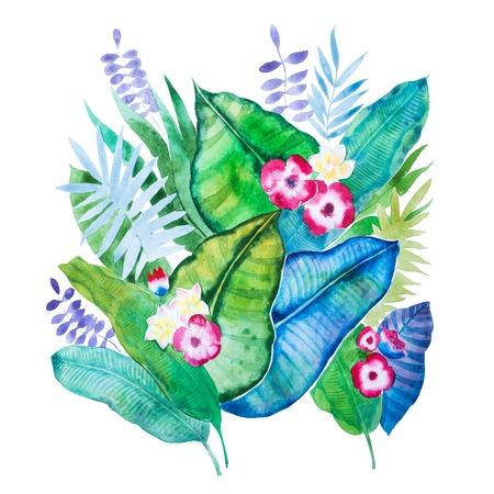 Composition d'aquarelle dessinés à la main de feuilles tropicales et fleurs isolés sur fond blanc Banque d'images - 86555441