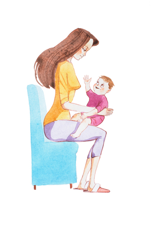 Watercolor drawing of cute smiling little baby boy sitting on mother s lap